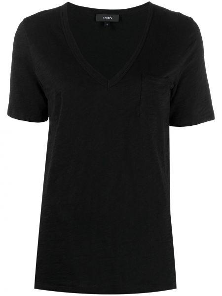Хлопковая черная рубашка с короткими рукавами Theory