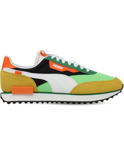Zielone sneakersy sznurowane koronkowe Puma Select