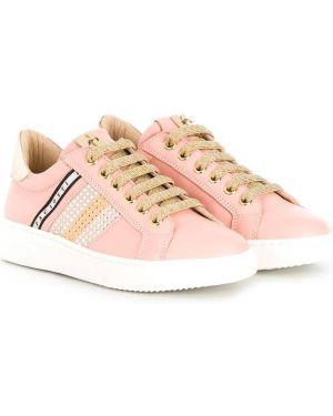 Розовые кожаные кроссовки на шнуровке с нашивками Cesare Paciotti Kids