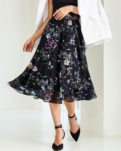 Шифоновая юбка миди - черная Dressa