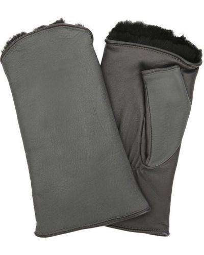 Серые перчатки с мехом Agnelle