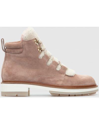 Замшевые ботинки - розовые Santoni