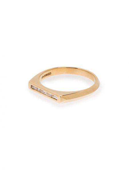 С ромбами золотистое кольцо золотое с бриллиантом Lizzie Mandler Fine Jewelry