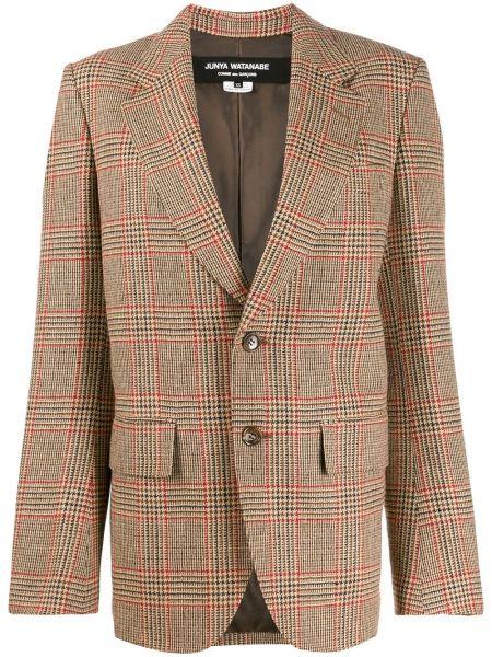 Шерстяной коричневый пиджак с карманами Junya Watanabe