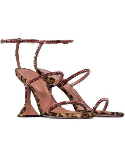 Коричневые кожаные сандалии Amina Muaddi
