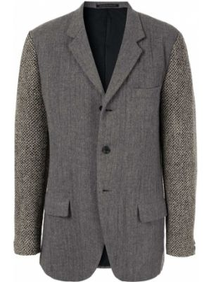 Шерстяной пиджак на пуговицах с лацканами с карманами Yohji Yamamoto Pre-owned