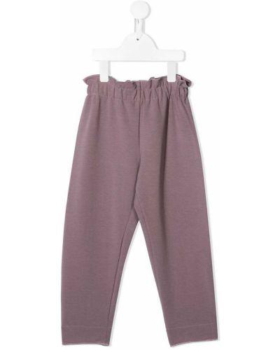 Хлопковые розовые брюки с карманами Il Gufo