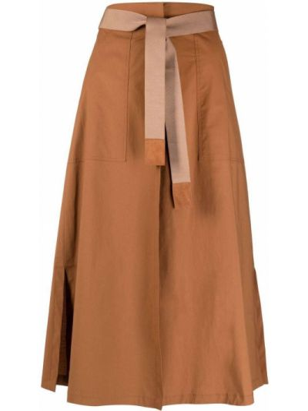 Хлопковая с завышенной талией юбка с карманами Seventy