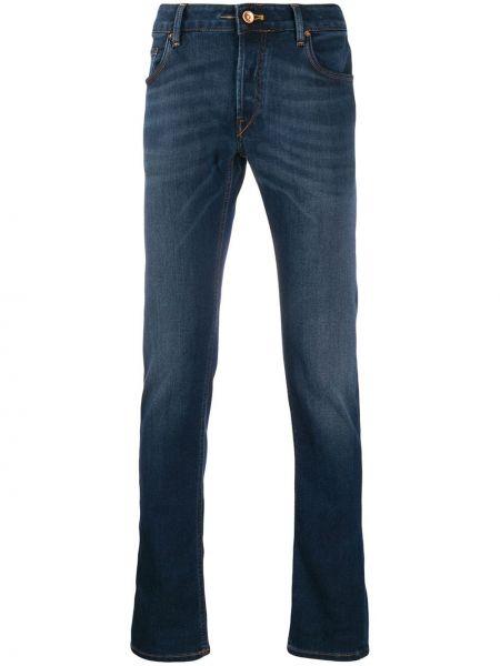 Niebieskie jeansy skorzane z paskiem Hand Picked