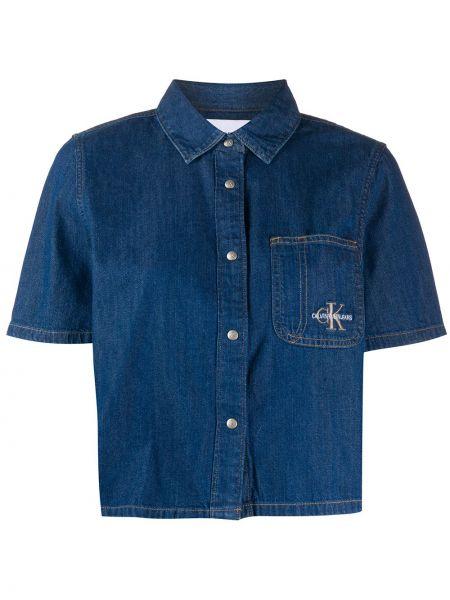 Niebieska koszula jeansowa krótki rękaw bawełniana Calvin Klein Jeans