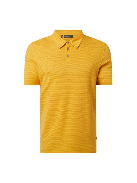 Żółty t-shirt w paski bawełniany Maerz Muenchen