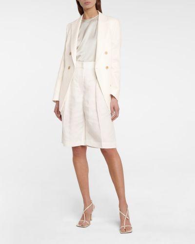 Льняные белые шорты для офиса Brunello Cucinelli
