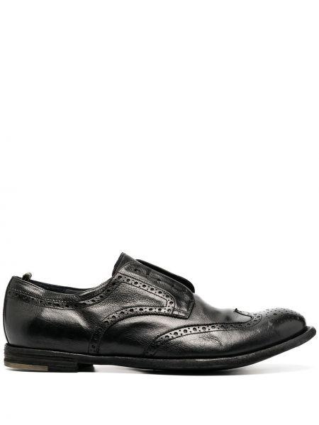 Czarny buty brogsy z prawdziwej skóry kaskada okrągły nos Officine Creative