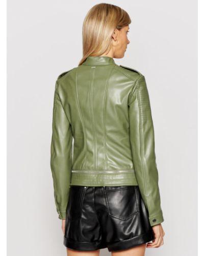 Zielona kurtka skórzana Guess