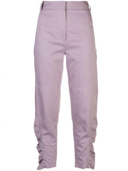 Хлопковые фиолетовые брюки чиносы узкого кроя Tibi
