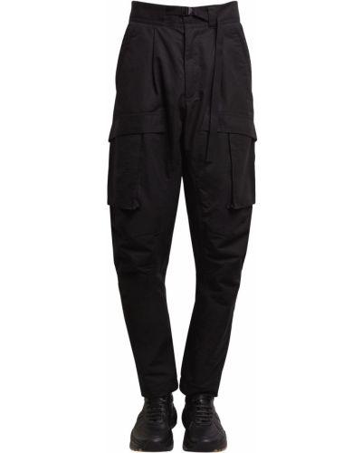 Czarne spodnie klamry z nylonu Bottega Veneta