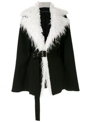Шерстяное черное пальто оверсайз с воротником Gloria Coelho