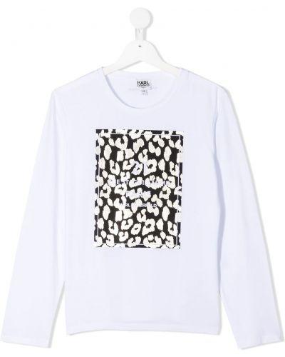 Белая футболка круглая с длинными рукавами с круглым вырезом Karl Lagerfeld Kids