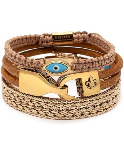 Brązowa złota bransoletka pozłacana Nialaya Jewelry
