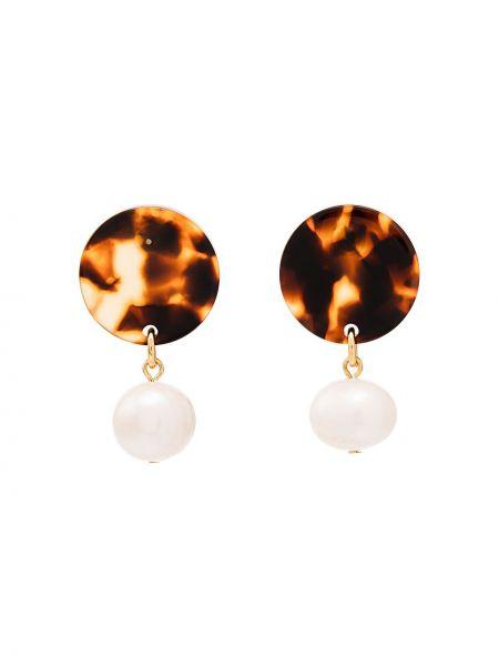 Brązowe kolczyki sztyfty perły Aym