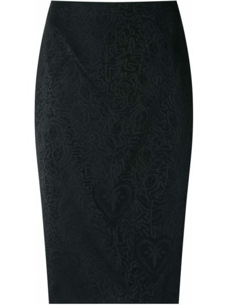 Облегающая черная юбка карандаш на молнии с поясом Martha Medeiros