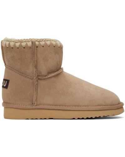Коричневые замшевые ботинки на каблуке Mou
