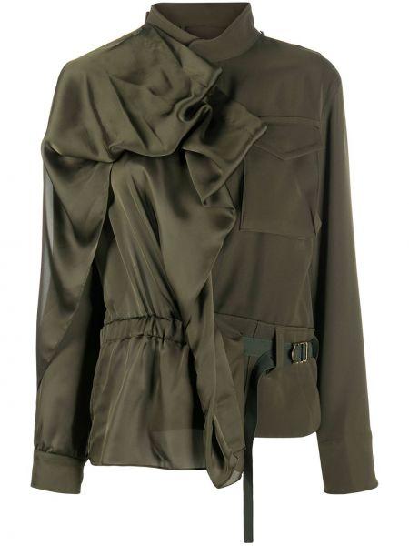 Зеленый удлиненный пиджак с поясом с воротником Sacai