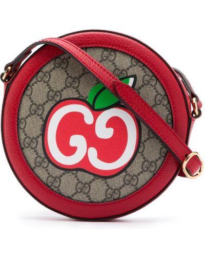 Beżowy z paskiem brezentowy torba na ramieniu okrągły Gucci