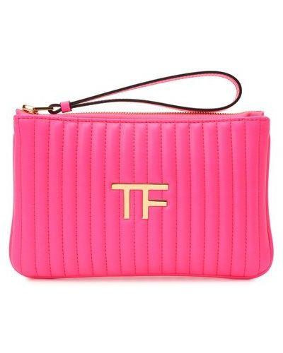 Розовый кожаный клатч Tom Ford