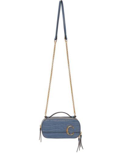 Skórzany czarny torebka na łańcuszku prążkowany prostokątny Chloe