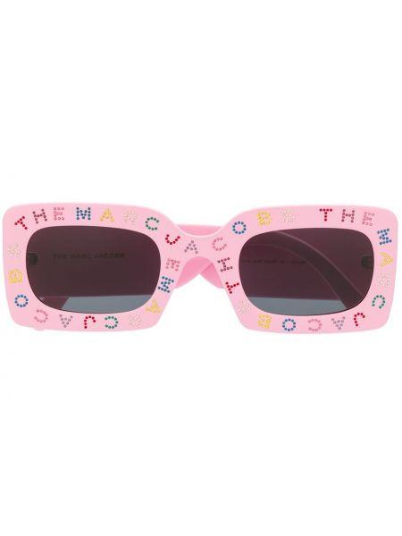 Прямые розовые солнцезащитные очки квадратные со стразами Marc Jacobs Eyewear
