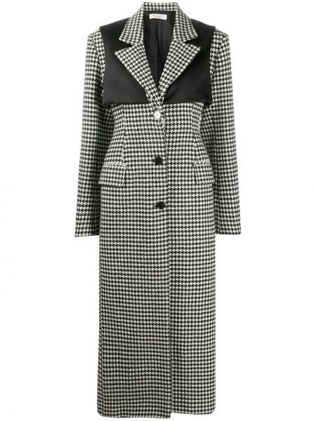 Черное шерстяное длинное пальто на пуговицах с лацканами Nina Ricci
