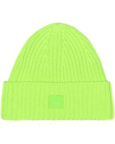 Czapka zimowa wełniany zielony Acne Studios Kids