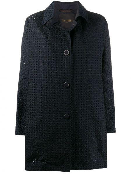 Прямое синее длинное пальто с капюшоном Moorer