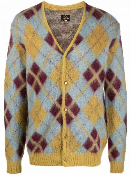 Niebieski sweter z dekoltem w serek Needles