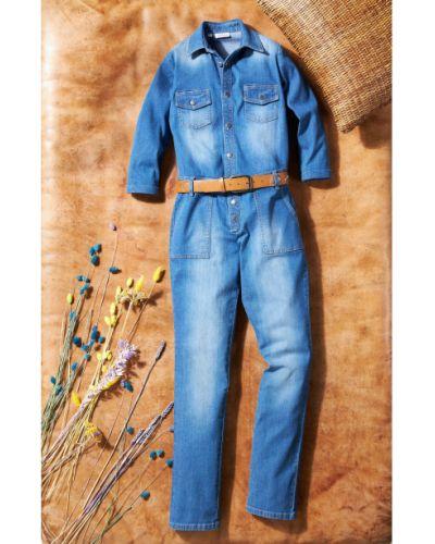 Синий джинсовый комбинезон стрейч Bonprix