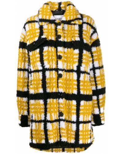 Классическое коралловое длинное пальто с воротником Stand