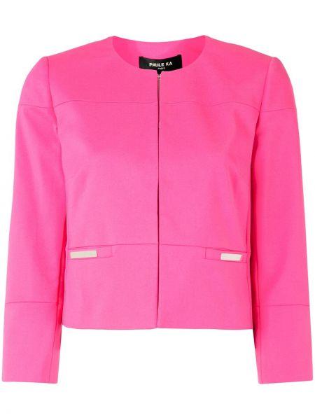 Хлопковый розовый короткая куртка круглый Paule Ka