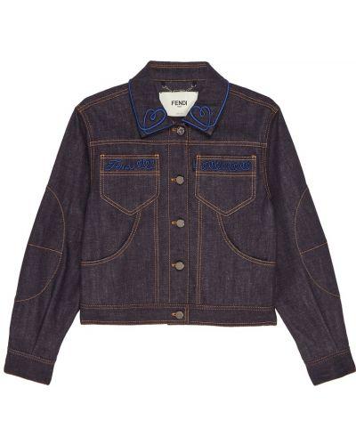Джинсовая куртка с вышивкой на пуговицах Fendi