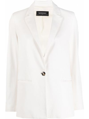 Белый кожаный удлиненный пиджак на пуговицах Simonetta Ravizza
