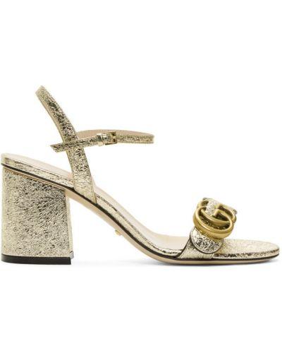 Skórzany sandały z klamrą na pięcie okrągły Gucci