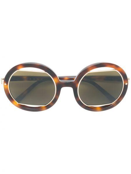 Прямые муслиновые солнцезащитные очки круглые хаки Marni Eyewear