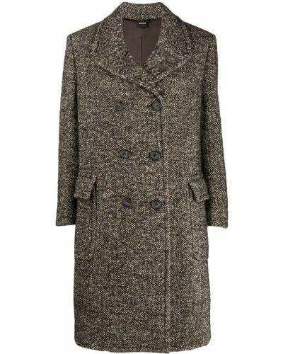 Длинное пальто на кнопках шерстяное Aspesi