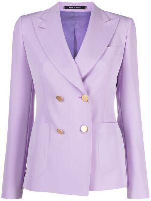 Малиновый удлиненный пиджак двубортный с накладными карманами Tagliatore