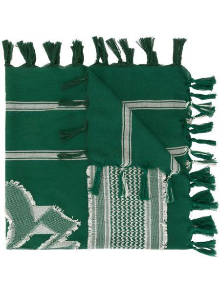 Zielony szalik z jedwabiu z frędzlami Undercover