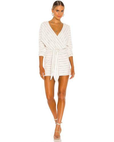 Текстильное восточное белое платье мини Saylor