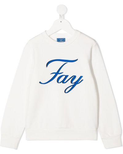 С рукавами хлопковый белый свитшот с круглым вырезом Fay Kids