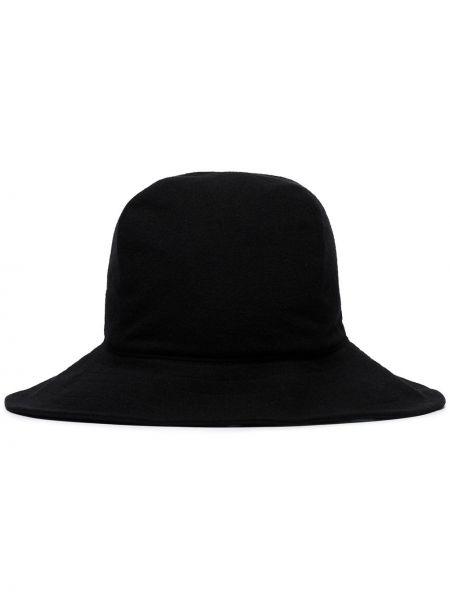 Szeroki kapelusz wełniany z logo Yohji Yamamoto