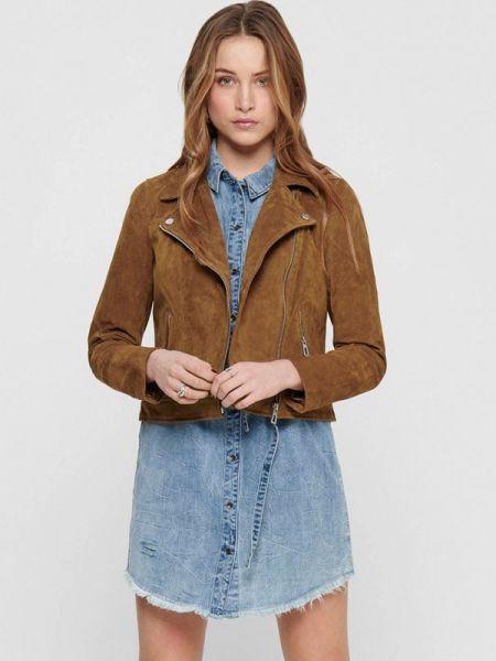 Кожаная куртка весенняя коричневая Only