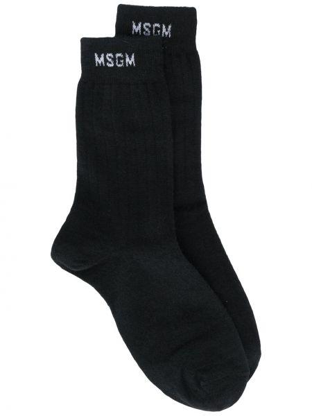 Черные носки в рубчик из альпаки Msgm